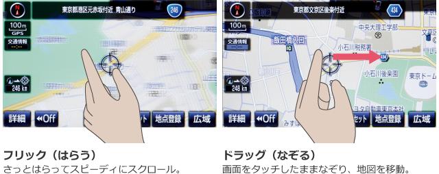 フリック(はらう)さっとはらってスピーディにスクロール。ドラッグ(なぞる)画面をタッチしたままなぞり、地図を移動。