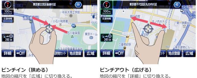 ピンチイン(狭める)地図の縮尺を「広域」に切り換える。ピンチアウト(広げる)地図の縮尺を「詳細」に切り換える。