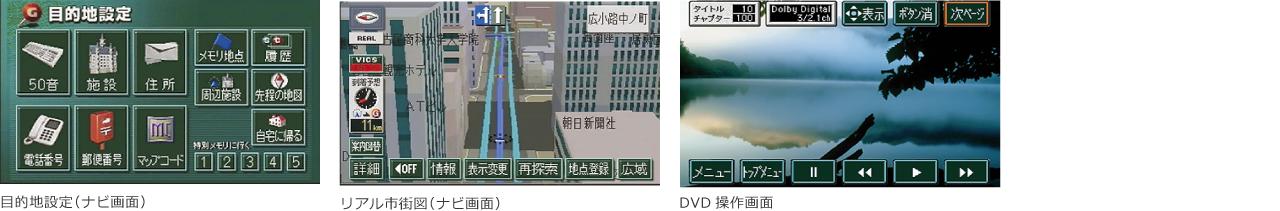 目的地設定(ナビ画面)、リアル市街図(ナビ画面)、DVD操作画面