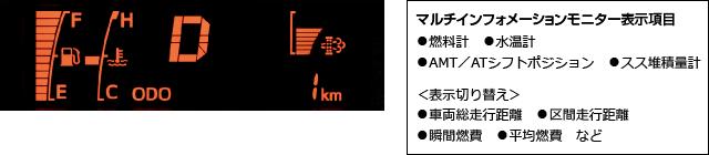マルチインフォメーションモニター表示項目:燃料計、水温計、AMT/ATシフトポジション、スス堆積量計 <表示切り替え>車両総走行距離、区間走行距離、瞬間燃費、平均燃費 など