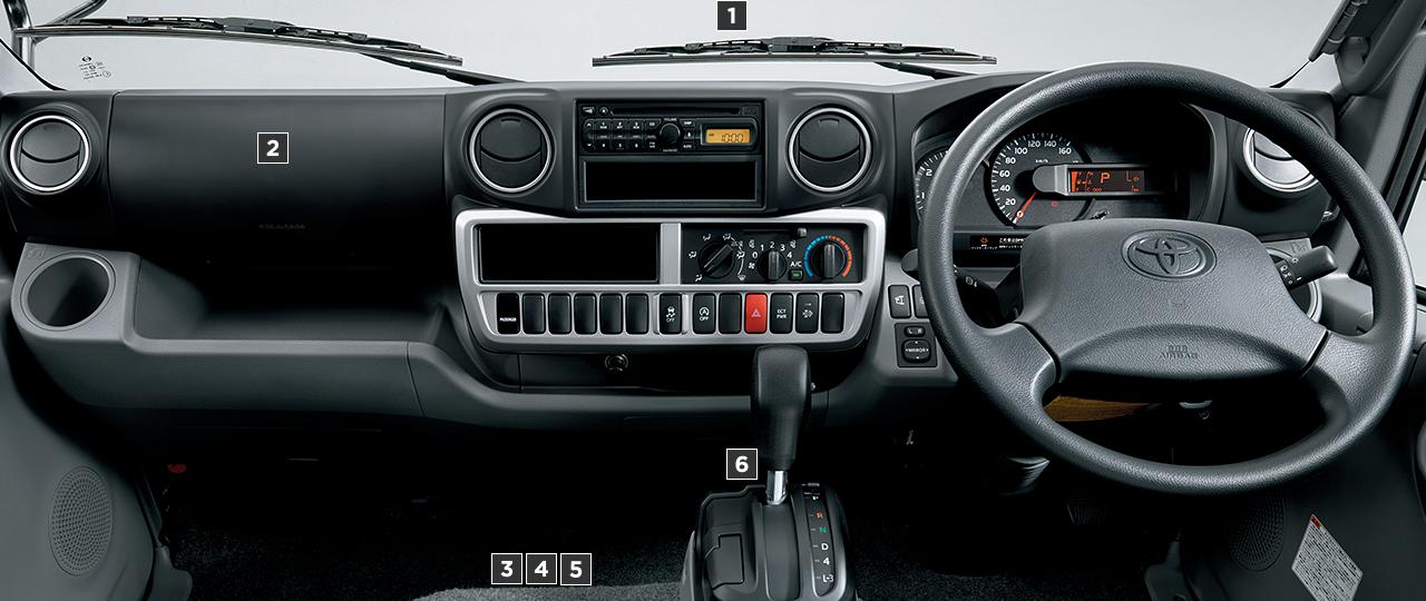 標準キャブ・標準デッキ・ジャストロー・2.0トン積・ディーゼル車の計器盤。オプション装着車