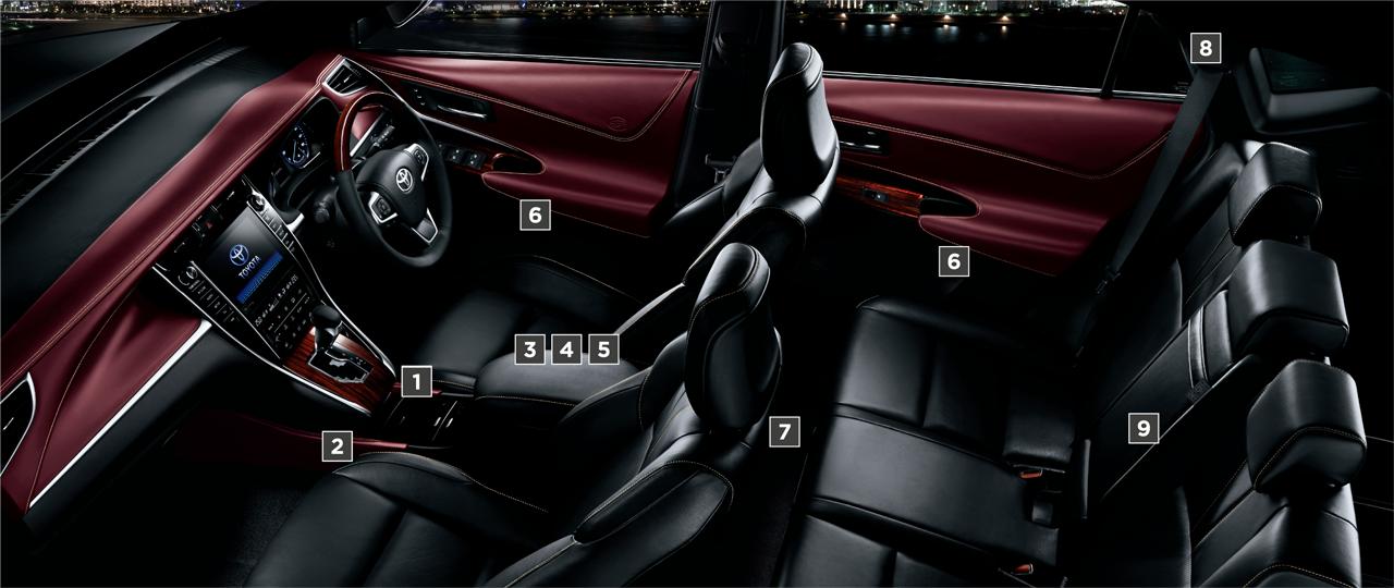 "PREMIUM""Advanced Package""(ハイブリッド車)。内装色のディープボルドーは設定色(ご注文時に指定が必要です。指定がない場合はブラックになります)。オプション装着車"
