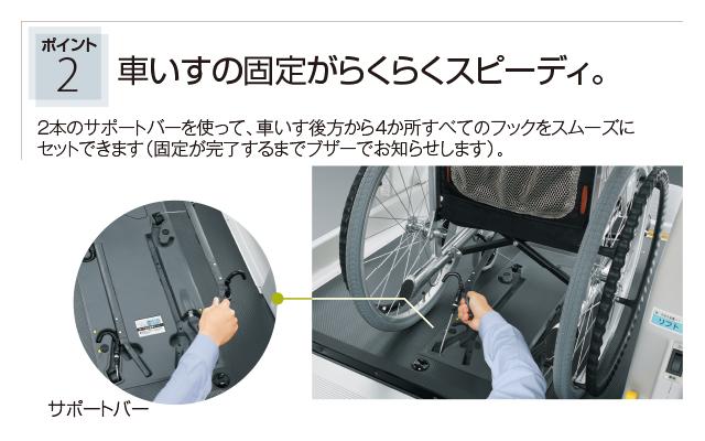 ポイント2 車いすの固定がらくらくスピーディ。