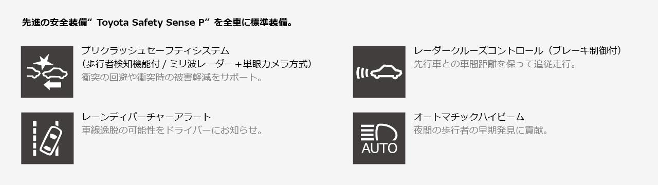 """先進の安全装備""""Toyota Safety Sense P""""を全車に標準装備。"""