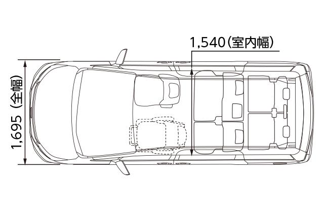 助手席リフトアップシート車 X 2WD 寸法図(平面図)