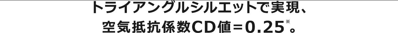 トライアングルシルエットで実現、 空気抵抗係数CD値=0.25。