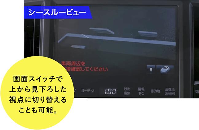 シースルービュー 画面スイッチで上から見下ろした視点に切り替えることも可能。
