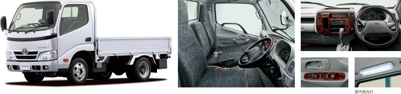 """2WD・標準デッキ・フルジャストロー・1.5トン積・2.0Lガソリン車。""""Gパッケージ""""装着車。ボディカラーのシルバーメタリック〈199〉はメーカーオプション。"""