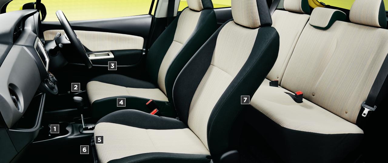 F。1.3L・2WD。内装色のアイボリーは設定色(ご注文時に指定が必要です。指定がない場合はブラックになります)。オプション装着車