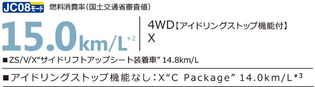燃料消費率(国土交通省審査値)15.0km/L 4WD【アイドリングストップ機能付】 X