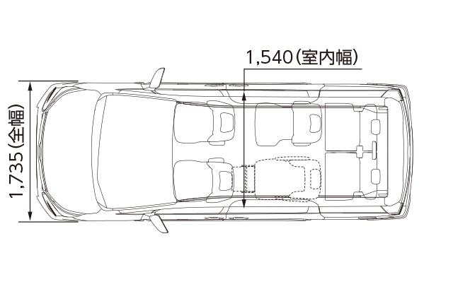 サイドリフトアップチルトシート車 ZS 2WD(平面図)